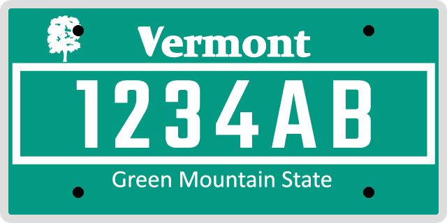 Vermont License Plate Styles
